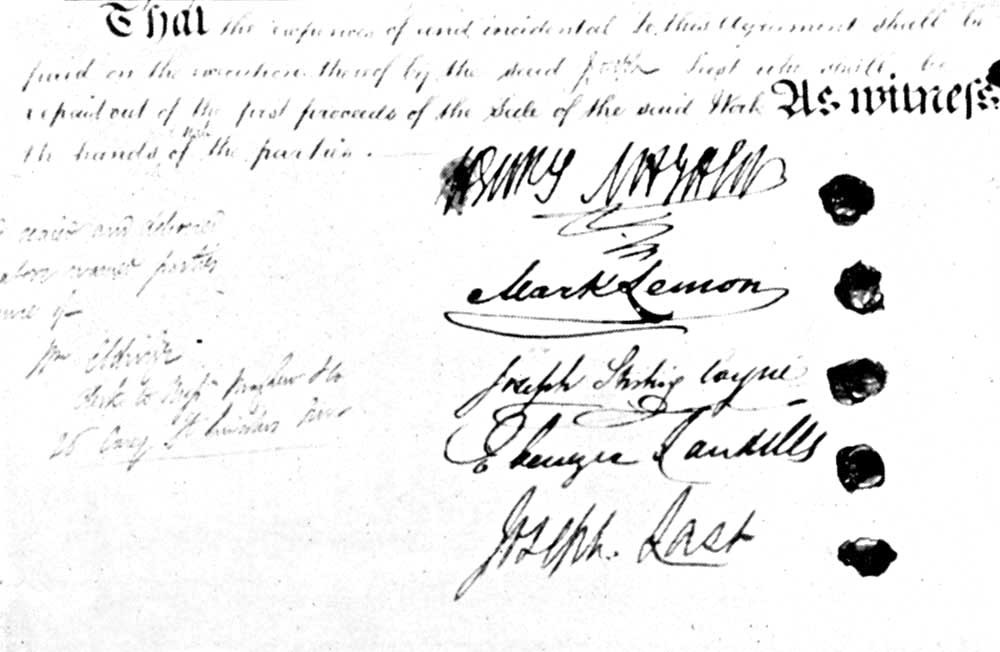 Figure 3 The five signatories to the Punch Article of Agreement led by Henry Mayhew