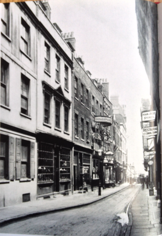 Figure 4 Wych Street - The Shakespeare's Head, where Punch was first mooted, is on the left